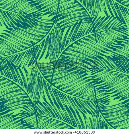 Palm leaves illustration pattern with tropical jungle plant. Vector wallpaper seamless textile in vintage style. Green colors background. Tropical pattern. - stock vector