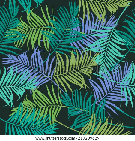 Palm leaves pattern. - stock vector
