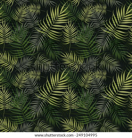 Palm leaves pattern on green background - stock vector