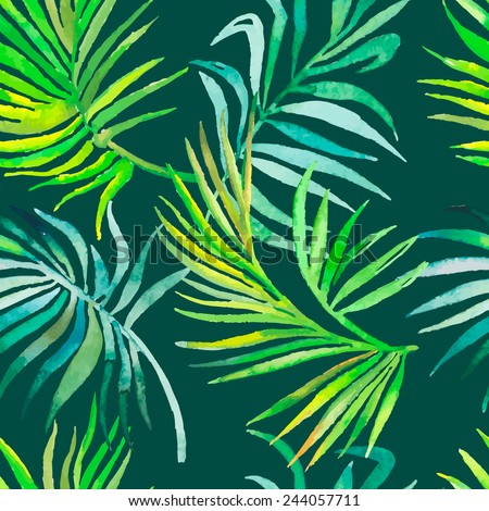 Palm leaves pattern. Seamless tropical pattern. Vector. - stock vector