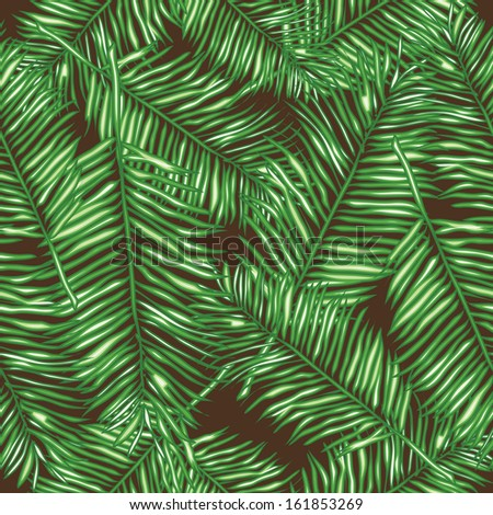 Palm leaves. Seamless vector background. Floral background. Template for wallpaper, a web page, surface textures, and textiles. Vector hand drawn wave texture. - stock vector