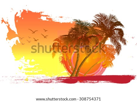 Palm on sunset background