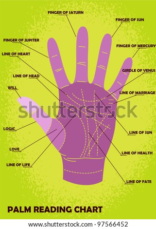 Palm reading chart showing explanations stock vector 97566452 palm reading chart showing explanations m4hsunfo
