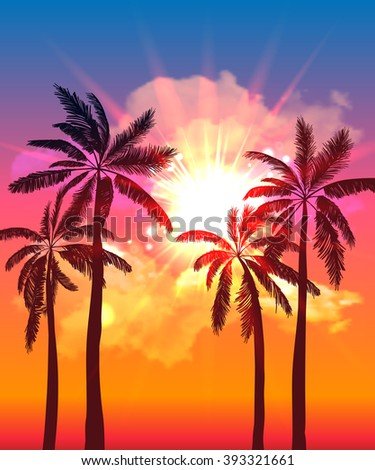Palm silhouettes on summer sunset with beautiful sky background. Tropical sunset, summer paradise. Vector illustration - stock vector