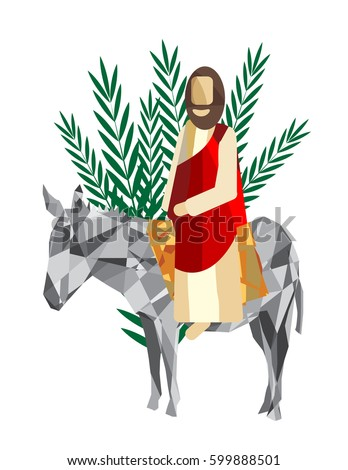 palm sunday triumphal entry jesus into stock vector 599888501 rh shutterstock com Palm Sunday Jesus Christ Graphic Jesus Died for You