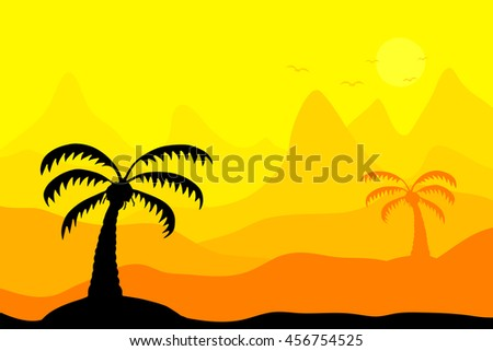 Palm tree and mountain landscape vector