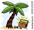 Palm tree and pirate chest on the seashore. Colorful hand drawing sketch vector illustration - stock photo