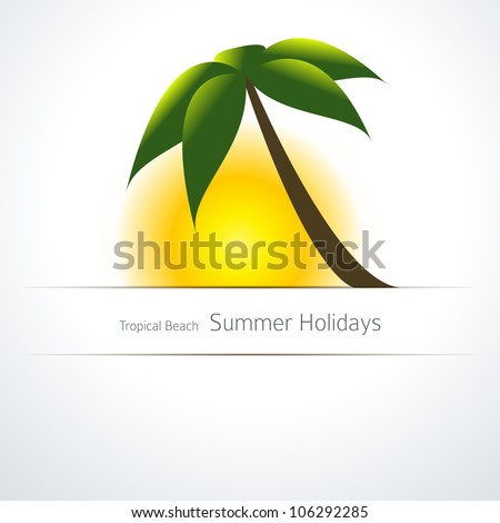 Palm Tree and Sun. Tropical Background Template - stock vector