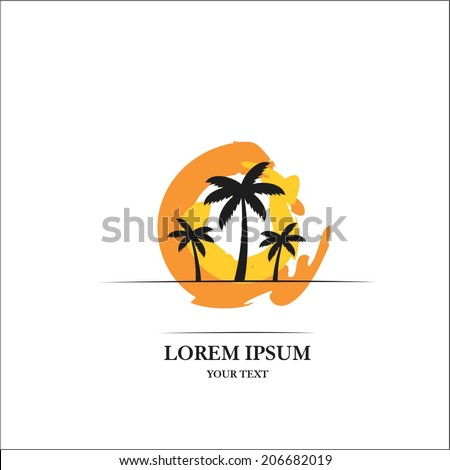 Palm tree and sunset - stock vector