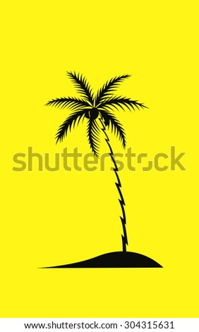 Palm tree black silhouette, vector illustration
