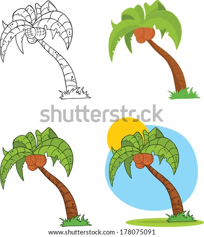 Palm Tree Cartoon Illustrations. Set Vector Collection - stock vector