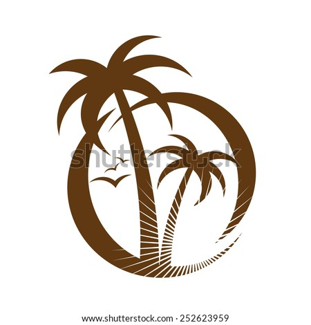 palm tree emblems. icon sign. design element - stock vector