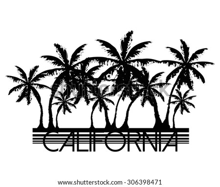 Palm tree graphic with california city slogan in vector - stock vector