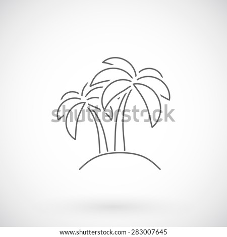 Palm  tree icon, thin line style. - stock vector
