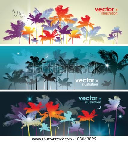 Palm tree landscape. - stock vector