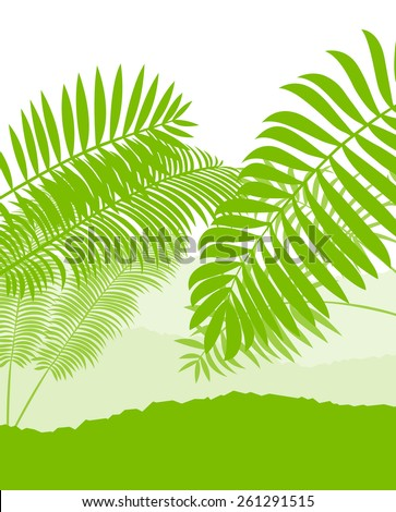 Palm tree landscape ecology environment green concept background vector  - stock vector