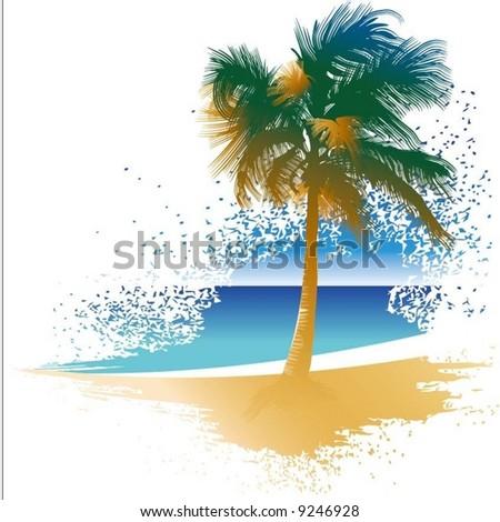 palm tree on the idyllic beach - stock vector