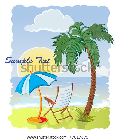 palm tree on the sea beach with umbrella and chair