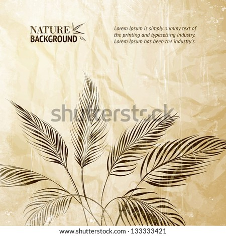Palm tree over bamboo forest. Vector illustration. - stock vector