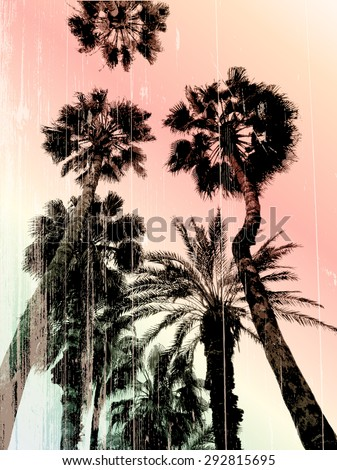 Palm tree print in vector - stock vector