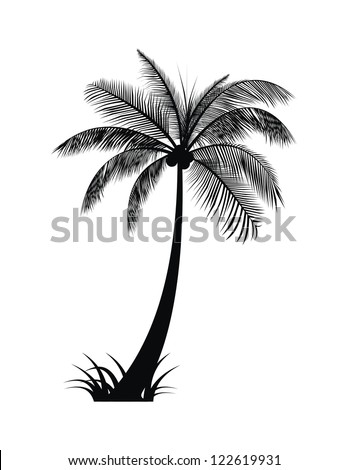 Palm Tree Silhouette Vector with Grass - stock vector