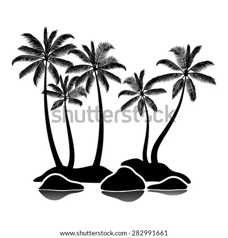 Palm tree silhouettes on rocky shore isolated on white - stock vector