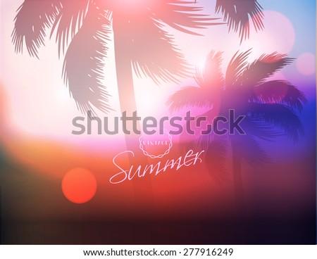 Palm Tree Sunset-Vector Illustration - stock vector