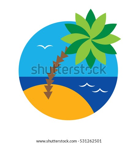 Palm tree - view with beach, sea, sky and palm tree