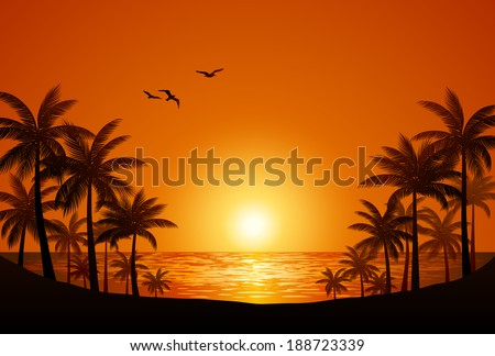 Palm trees - stock vector