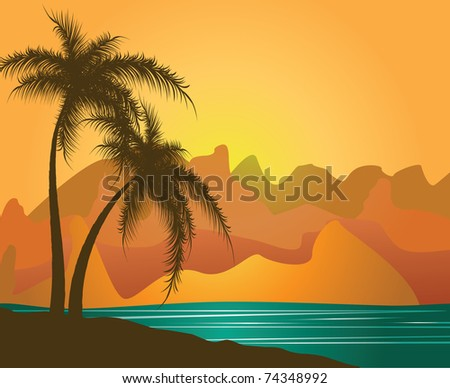 Palm trees against mountains and the sea. Vector - stock vector