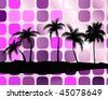 Palm trees against squares - an abstract background. Vector illustration - stock vector