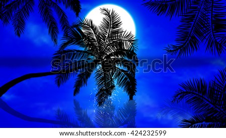 Palm trees against the night sunset - stock vector