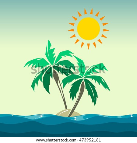 Palm trees and sun design elements. Summer island in sea, vector illustration