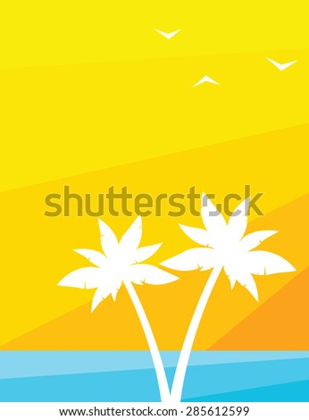 palm trees at sunset - stock vector