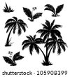Palm trees, flowers and grass, black silhouettes on white background. Vector - stock photo