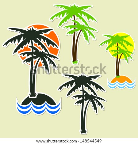Palm trees in the form of stickers. Set on a light background.  - stock vector