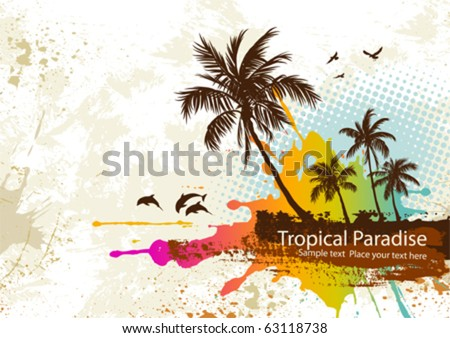 Palm trees on a grunge background - stock vector