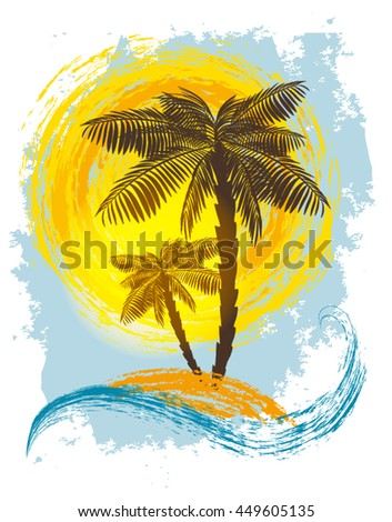 Palm trees on the background of the sun