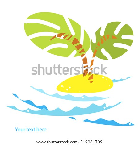 palm trees on the island in the ocean icon.Summer vector tropical landscape with ocean waves and beach