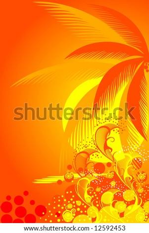 palm trees on tropical beach vector - stock vector