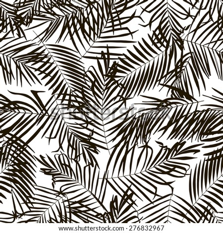 Palm Trees Seamless Background Vector Pattern Simple Black And White