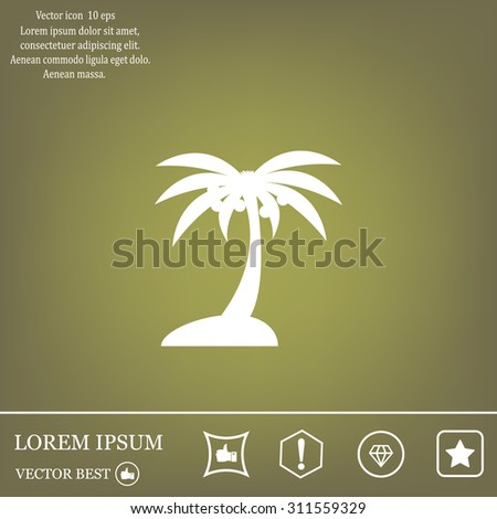 Palm trees silhouette on art island - stock vector