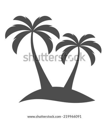Palm trees silhouette on island. Vector illustration - stock vector
