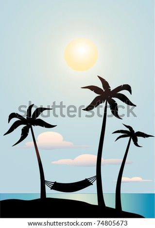 palm trees silhouettes over a blue sky - stock vector