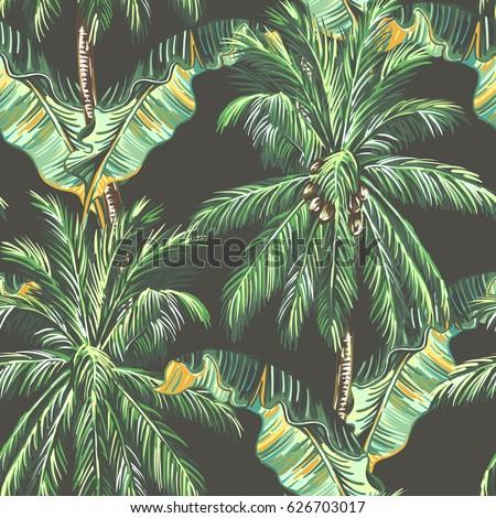 Palm Trees Tropical Leaves Banana Leaf Stock Vector Vintage Tree Wallpaper