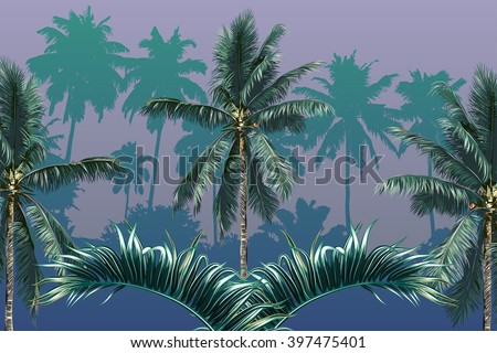 Palm trees, tropical palm leaves, beautiful vector floral tropical background