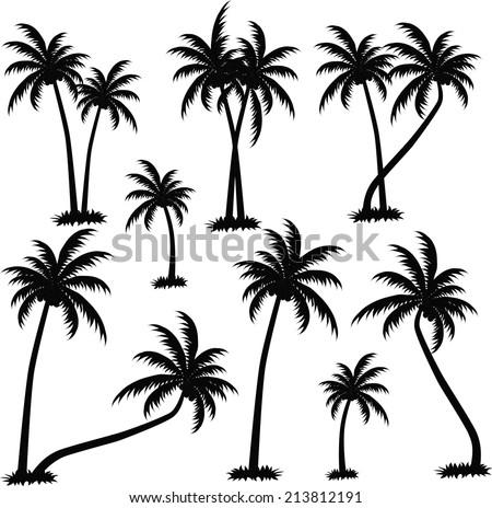 palm trees vector stock vector 213812191 shutterstock rh shutterstock com palm tree vector silhouette palm tree vector silhouette