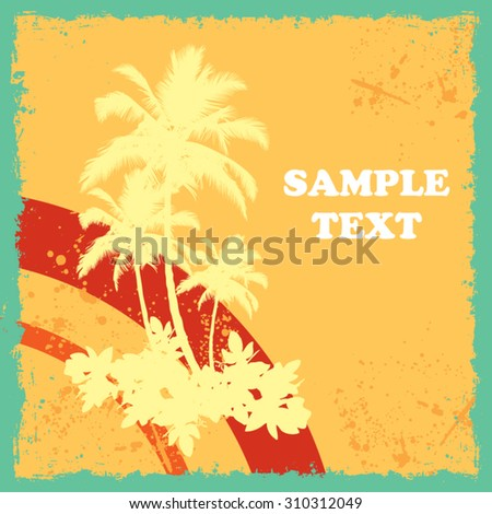 Palm Trees with Vintage Summer Background - stock vector