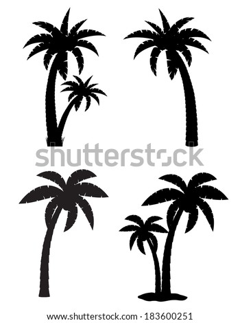 palm tropical tree set icons black silhouette vector illustration isolated on white background - stock vector