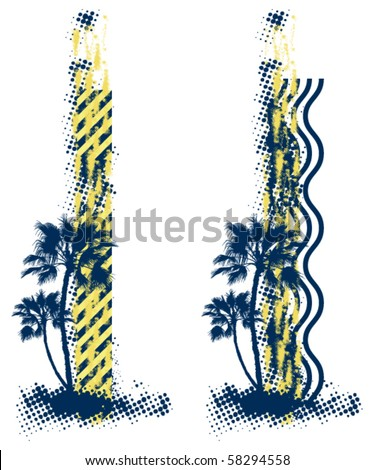 palm vignette - stock vector